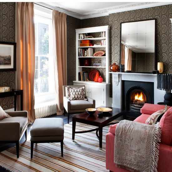 Use rich colour winter living room decorating ideas for Living room makeover ideas uk