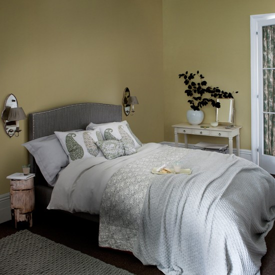 soft grey and yellow bedroom