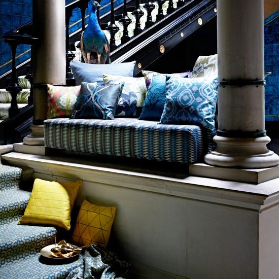 Ikat print hallway staircase | housetohome.