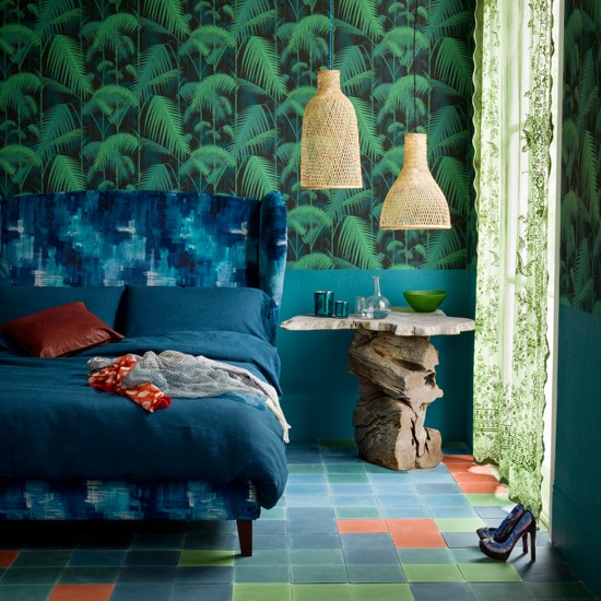 Blue and green motif bedroom | Modern decorating ideas | Livingetc | Housetohome