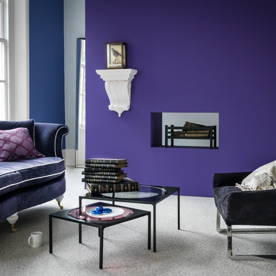 Purple modern living room for Living room ideas purple
