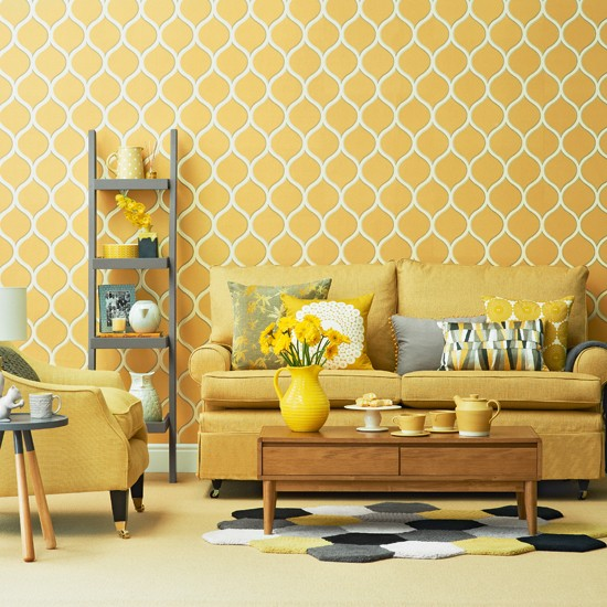 Bright yellow living room for Yellow modern living room ideas