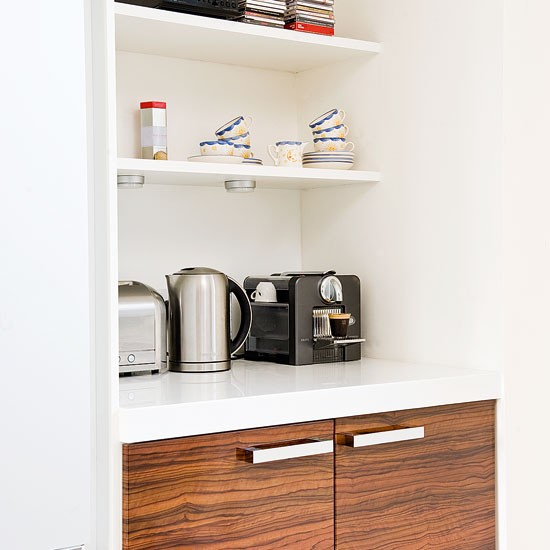 storage alcove a dark wood and white hi gloss kitchen fitted bookcase clever designs for alcoves housetohome