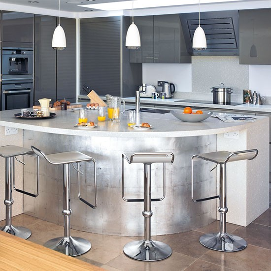 Metallic curved island  Kitchen islands  10 ideas  Kitchen  PHOTO