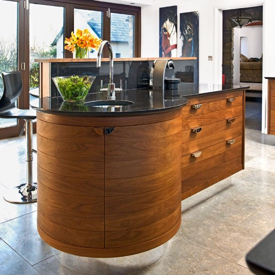 Curvaceous walnut island | Kitchen islands - 10 ideas | Kitchen | PHOTO GALLERY | Beautiful Kitchens | Housetohome.co.uk