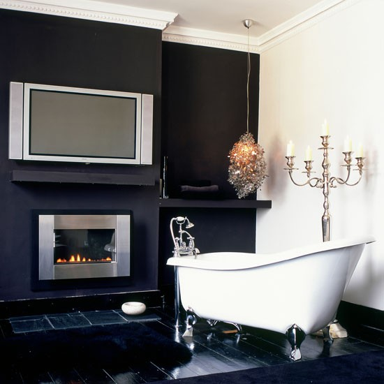 modern bathroom fireplace fireplace decorating ideas. Black Bedroom Furniture Sets. Home Design Ideas
