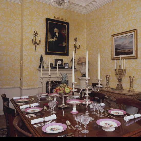 Yellow and white wallpaper dining room wallpaper for Yellow dining room ideas