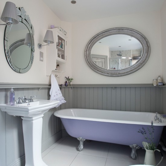 Lilac and grey panelled bathroom bathroom ideal home housetohome
