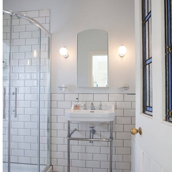 White tiled shower room | Bathroom | Ideal Home | Housetohome