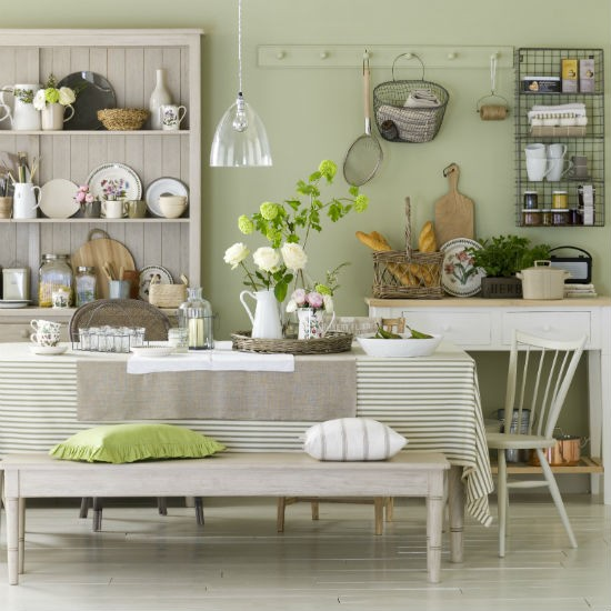 Kitchen dining room ideas on pinterest sage green for Green country kitchen ideas