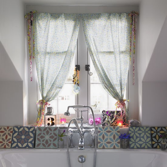 Floral curtains make a great alternative to nets and frosted windows
