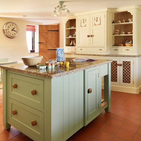 island unit soft green and cream traditional kitchen
