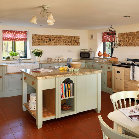 Soft green and cream traditional kitchen for Green country kitchen ideas