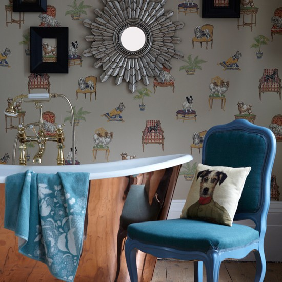 Dog-motif wallpapered bathroom | Bathroom decorating ideas | PHOTO GALLERY | Housetohome.co.uk