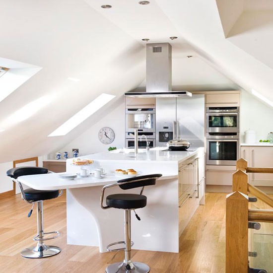 Loft conversion with kitchen and Velux windows