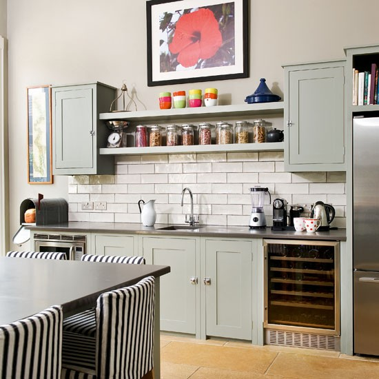Open shelving take a tour around a quirky and cosy for Quirky modern kitchen