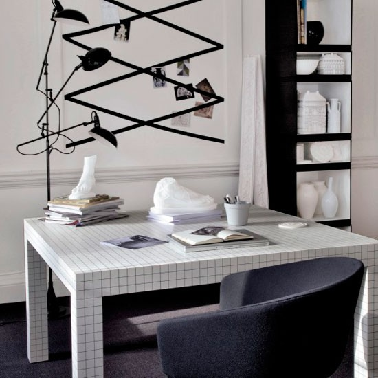 Modern monochrome home office chic monochrome 10 for Monochrome design ideas