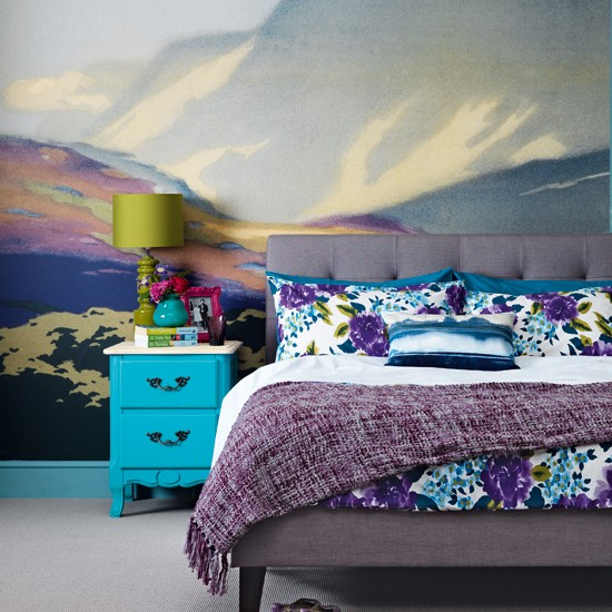 Bedroom with wall mural | Modern decorating ideas | Ideal Home | Housetohome