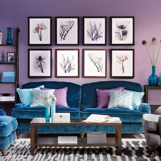 Dark blue and brown living room walls 2017 2018 best for Blue wall living room ideas