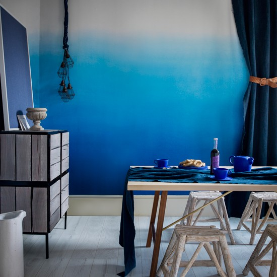 Tonal blue dining room | Indigo blue colour schemes | colour | PHOTO GALLERY | decorating ideas | Housetohome.co.uk