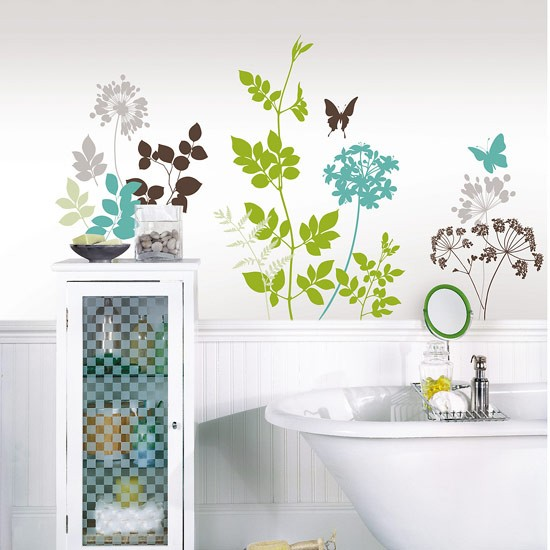 green and blue wall stickers family bathroom ideas