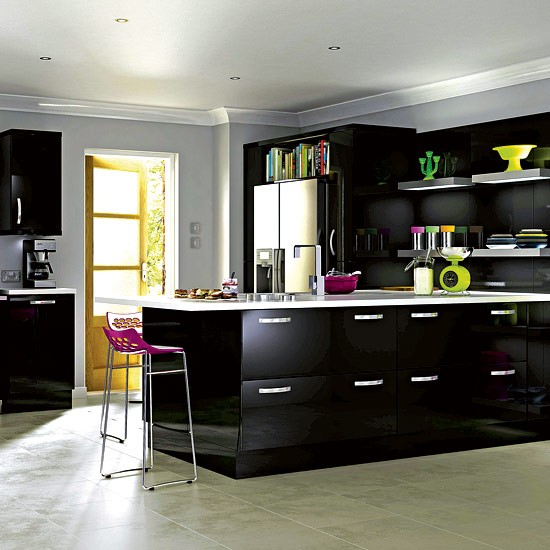 It High Gloss Black Kitchen From B Q Budget Kitchen