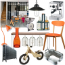 Industrial-themed dining room