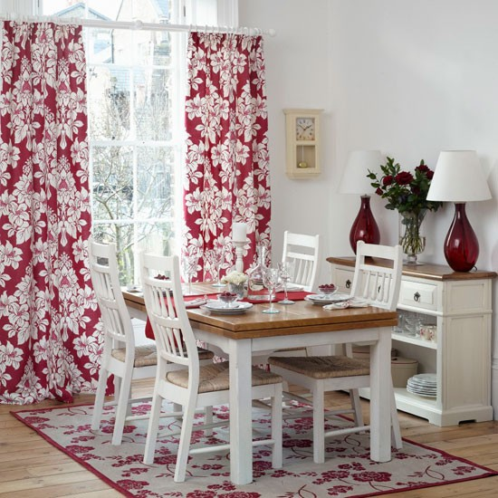 red and white floral dining room traditional dining room ideas 10