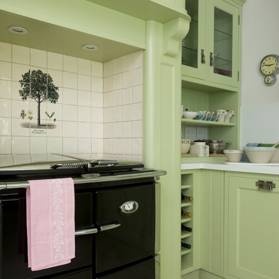 Green country kitchen with range for Green country kitchen ideas