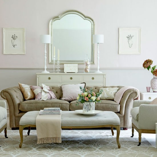 Elegant Pink And Grey Living Room Traditional Living Room Ideas 10