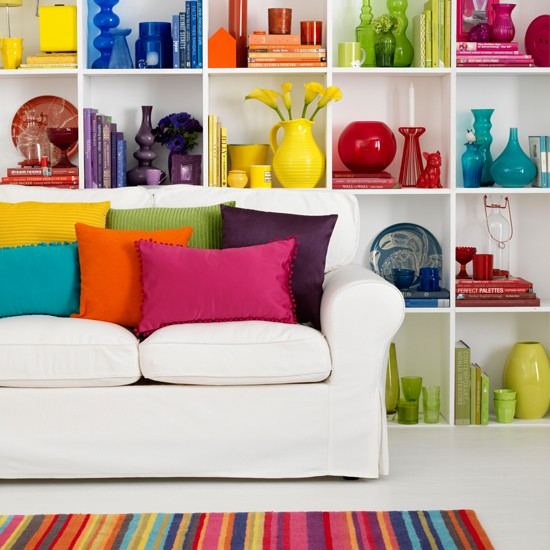 Living room with bright shelving decorating ideas to brighten up