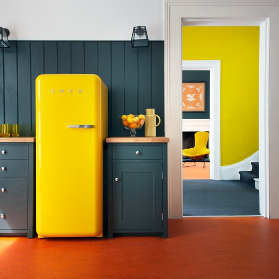 Kitchen with yellow fridge | Decorating ideas to brighten up your rooms | PHOTO GALLERY | Housetohome.co.uk