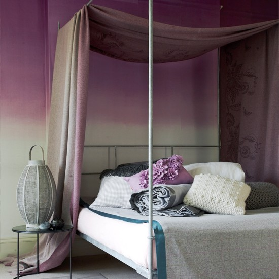 purple bedroom with draped fabric decorating ideas for glamorous