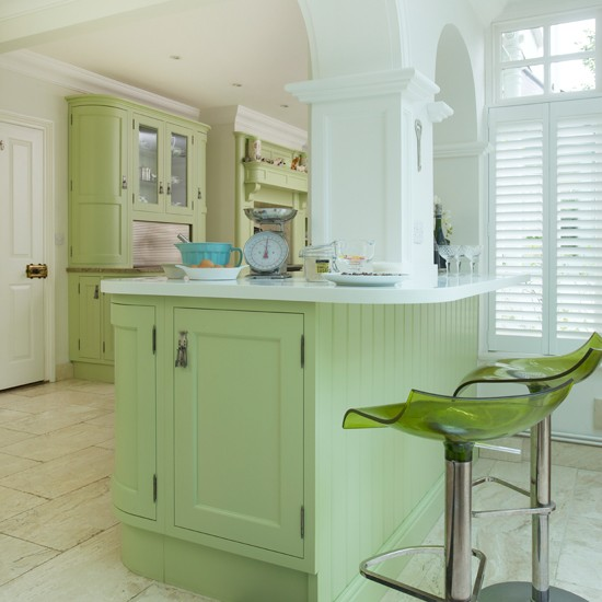 Green Shaker Style Kitchen Island