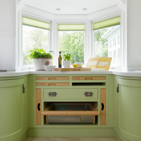 Bespoke green kitchen with bay window | kitchen design | Beautiful Kitchens | Housetohome.co.uk
