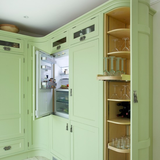 Green Shaker kitchen with curved units | kitchen design | Beautiful Kitchens | Housetohome.co.uk