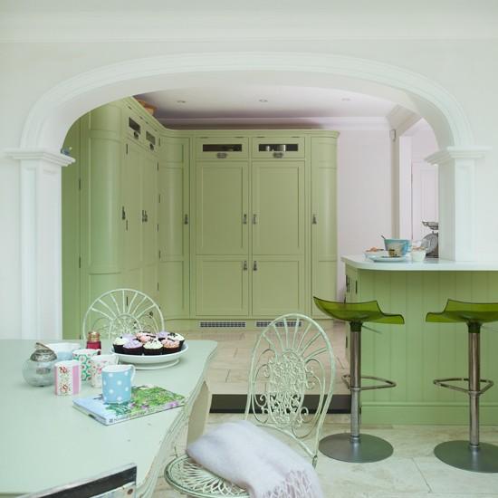 Green Shaker kitchen-dining area | Beautiful Kitchens | Housetohome.co.uk