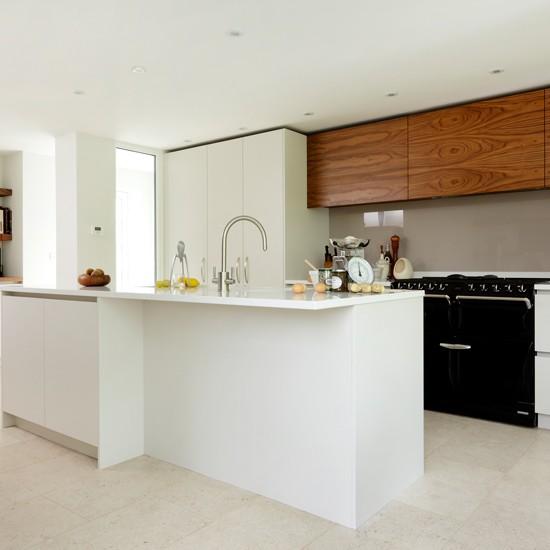 Modern White Kitchen With Black Aga