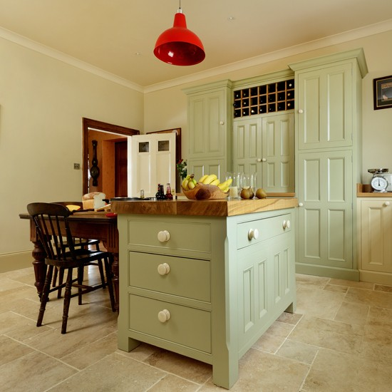Country Kitchen With Green Island Unit Kitchen Design Beautiful