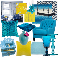 Bright blue and yellow bedroom