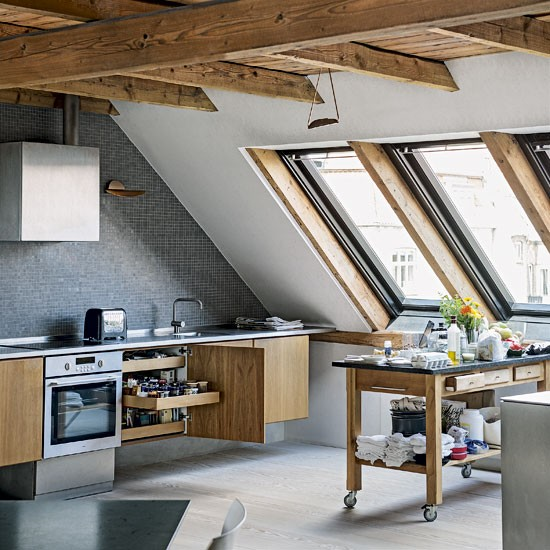 Kitchen take a tour around an unusual and edgy apartment in denmark - Houses attic enclosed kitchen ...