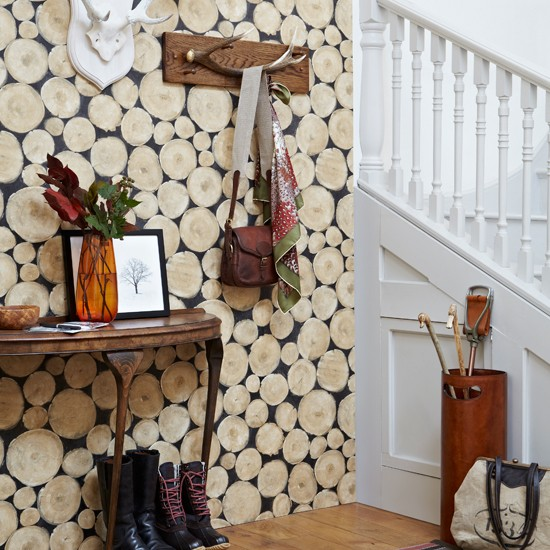 Rustic country hallway with log-effect wallpaper | hallway decorating ideas | Country Homes and Interiors | Housetohome.co.uk