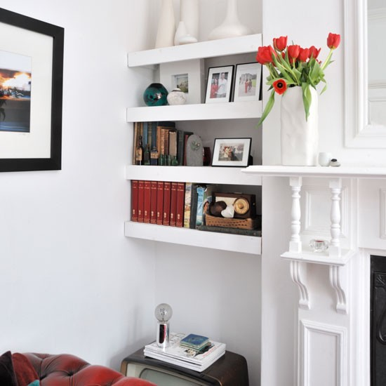 Alcove floating shelves shelving ideas for Shelves for living room decorations
