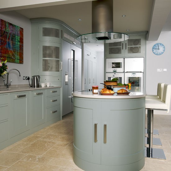 extractor hood step inside this muted blue and stainless kitchen island cooktop hoods home design ideas