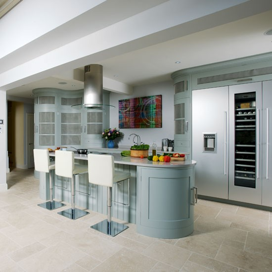 Step Inside This Muted Blue And Stainless Steel Kitchen