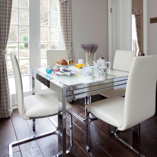 Country Dining Room With Contemporary Table And Chairs