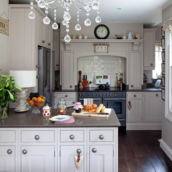 Georgian Style Kitchen With Crystal Chandelier