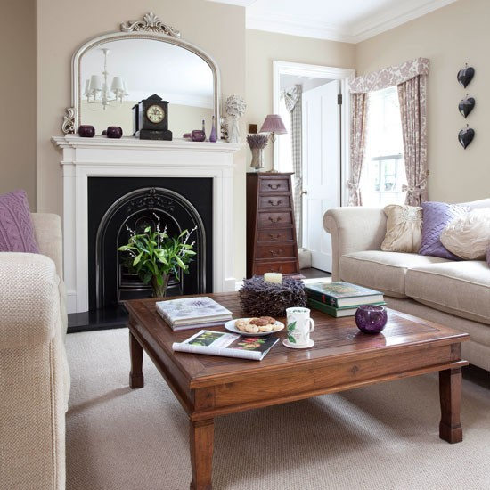 Neutral Living Room With Cast Iron Fireplace Step Inside