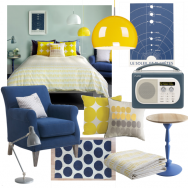Bedroom with blue and yellow