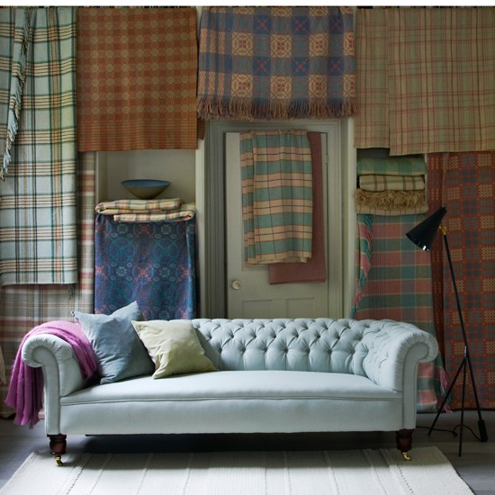 plaid living room with chesterfield sofa housetohome co uk